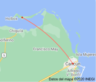 How far is Holbox Island from Cancun