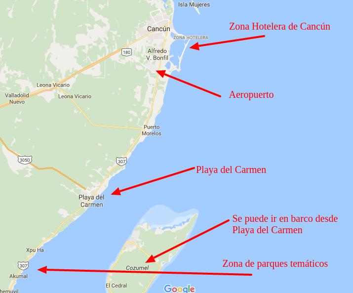 How far is Playa del Carmen from Cancun - 68 kilometros