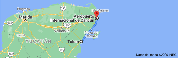 How far is the Cancun airport from Tulum
