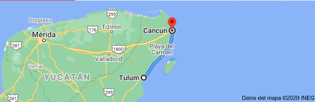 How far is the Tulum from Cancun