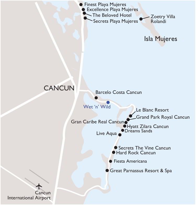 How far is the secret of Playa Mujeres from Cancun airport