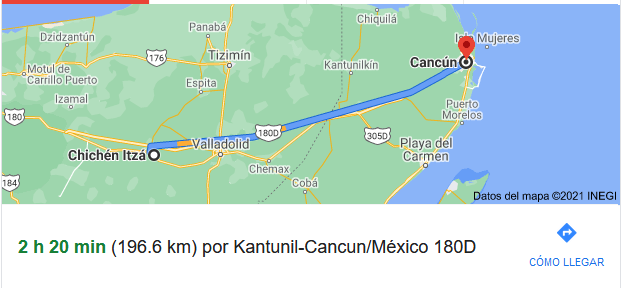 How far is Cancun from Chichen Itza