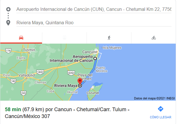 How far is Riviera maya From Cancun
