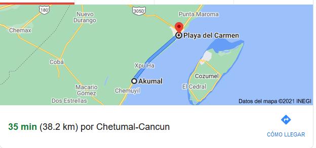 How far is Villa del Palmar from Downtown Cancun