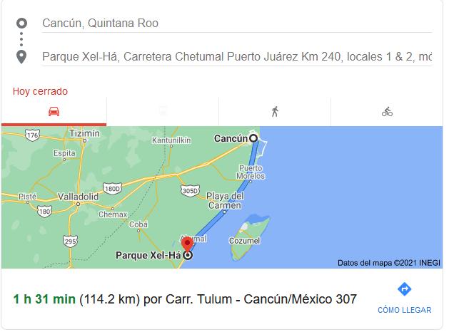 How far is Xel ha from Cancun